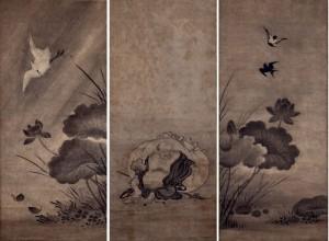 狩野元信 鳥と布袋 3幅
