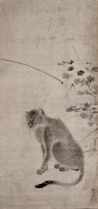 海北友松 菊花山猫